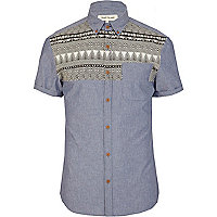 Blue chambray tribal yoke shirt