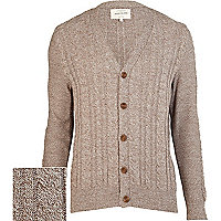 Brown cable knit V neck cardigan