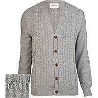 Grey cable knit V neck cardigan
