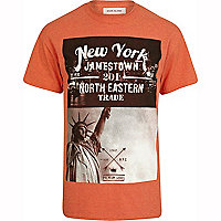 Orange New York print t-shirt