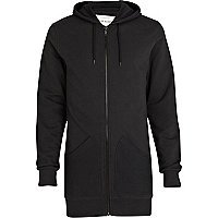 Black longline zip through hoodie