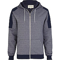 Navy marl contrast shoulder patch hoodie