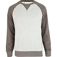 Grey marl colour block sweatshirt