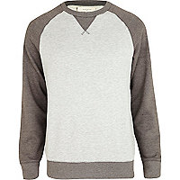 Grey marl colour block sweatshirt