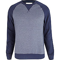 Navy marl colour block sweatshirt