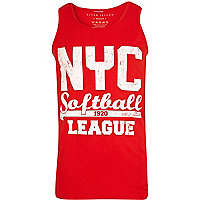 Red NYC softball league print vest