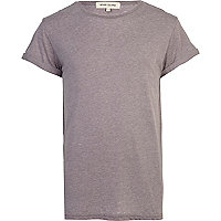 Grey burnout roll sleeve t-shirt