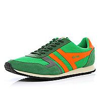 Green and orange Gola retro trainers