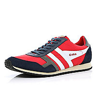Red Gola colour block retro trainers