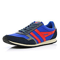 Blue Gola colour block retro trainers