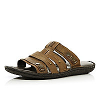 Brown studded strap slip on sandals