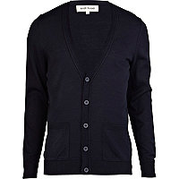 Navy V neck rolled edge cardigan