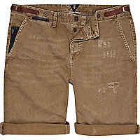 Brown Holloway Road distressed turn up shorts
