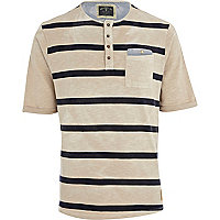 Beige striped Holloway Road grandad t-shirt