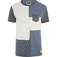 Blue marl Holloway Road print t-shirt