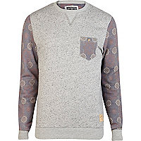 Grey Holloway Road printed sleeve sweatshirt
