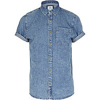 Mid wash polka dot denim shirt