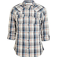 Blue check rolled up sleeve shirt