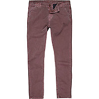 Red washed slim chinos