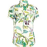 Ecru Holloway Road leaf print shirt