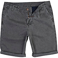 Grey washed chino shorts