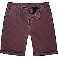 Berry red washed chino shorts