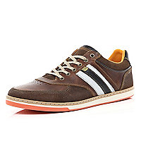 Brown contrast stacked sole trainers