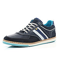 Navy contrast stacked sole trainers