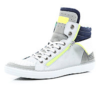 White zip panel colour block trainers