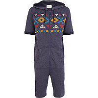 Blue aztec print panel short sleeve onesie