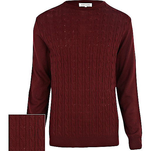 Burgundy lightweight cable knit jumper