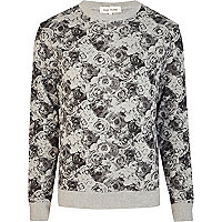 Grey floral print crew neck sweatshirt