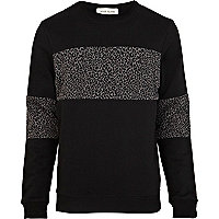Black leopard print colour block sweatshirt