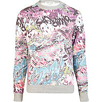 Pink graffiti print crew neck sweatshirt