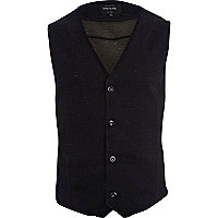 Black smart denim waistcoat