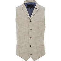 Light brown cross hatch smart waistcoat