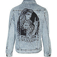Light wash tattoo back print denim jacket