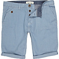 Blue pastel turn up chino shorts