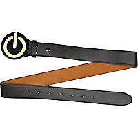 Black power button plate belt