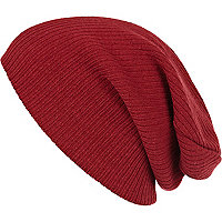 Red ribbed knit beanie hat