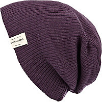 Purple ribbed knit beanie hat