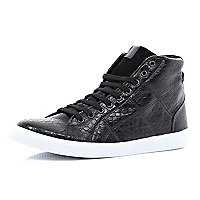 Black mock croc high tops