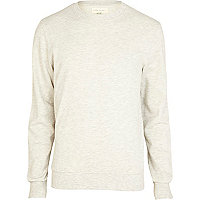 Ecru marl long sleeve crew neck sweatshirt