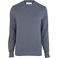 Blue marl long sleeve crew neck sweatshirt