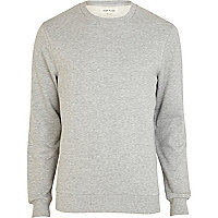 Grey marl long sleeve crew neck sweatshirt