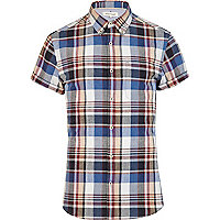 Blue short sleeve check shirt