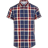 Blue and red short sleeve check shirt