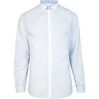 Light blue contrast placket shirt
