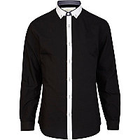 Black contrast placket shirt