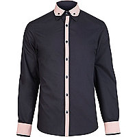 Navy contrast double collar shirt